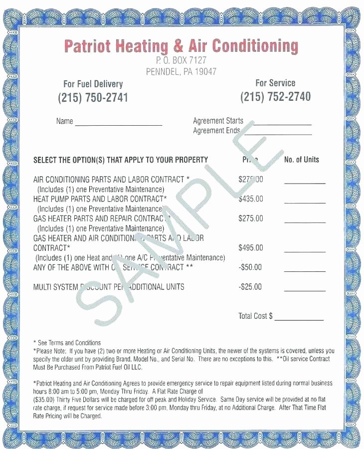 Hvac Maintenance Contract Template Awesome Hvac Contract Template – Crookedroad