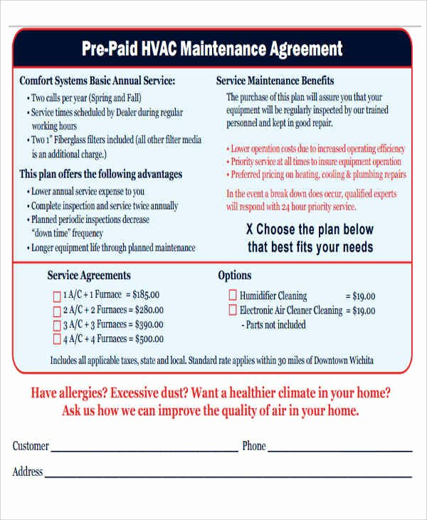Hvac Maintenance Contract Template Beautiful 9 Maintenance Agreement – Free Downloadable Samples