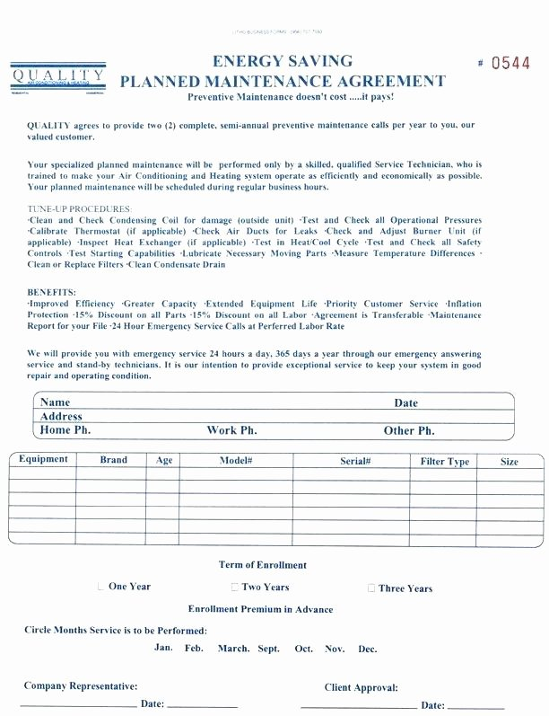 Hvac Maintenance Contract Template Beautiful Preventive Maintenance Agreement Template – Hafer
