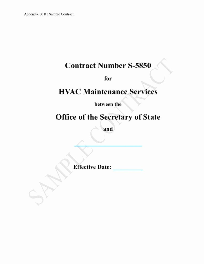 Hvac Maintenance Contract Template Elegant 7 Hvac Contract Templates for Services Pdf