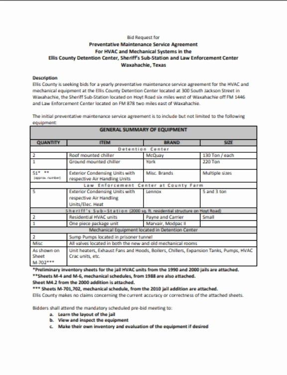 Hvac Maintenance Contract Template Luxury Hvac Preventative Maintenance Agreement Template 17