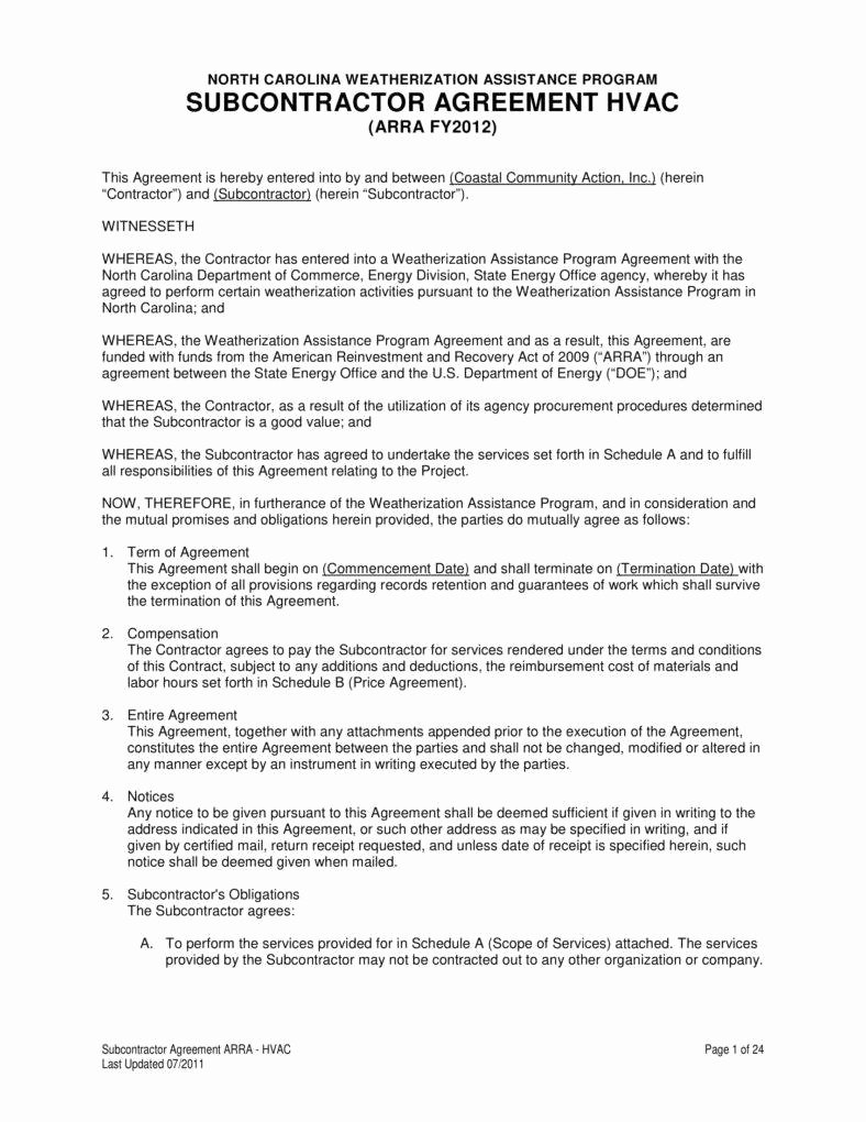 Hvac Service Contract Template Awesome 7 Hvac Contract Templates for Services Pdf