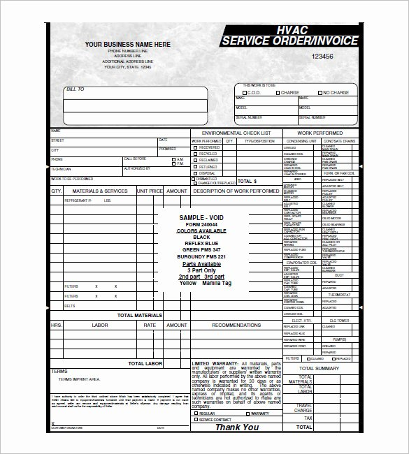 Hvac Service Contract Template Beautiful Hvac Invoice Template 7 Free Word Excel Pdf format