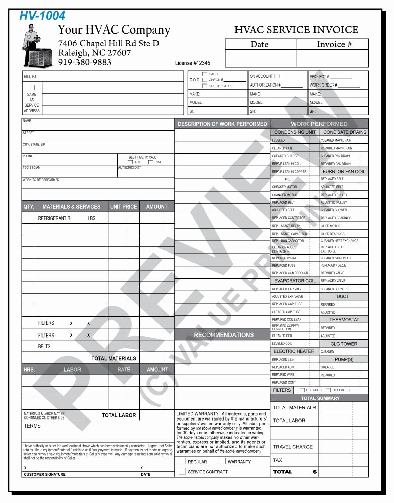 Hvac Service Contract Template Luxury Hv 1004 Hvac Time & Materials Work order Invoice 2