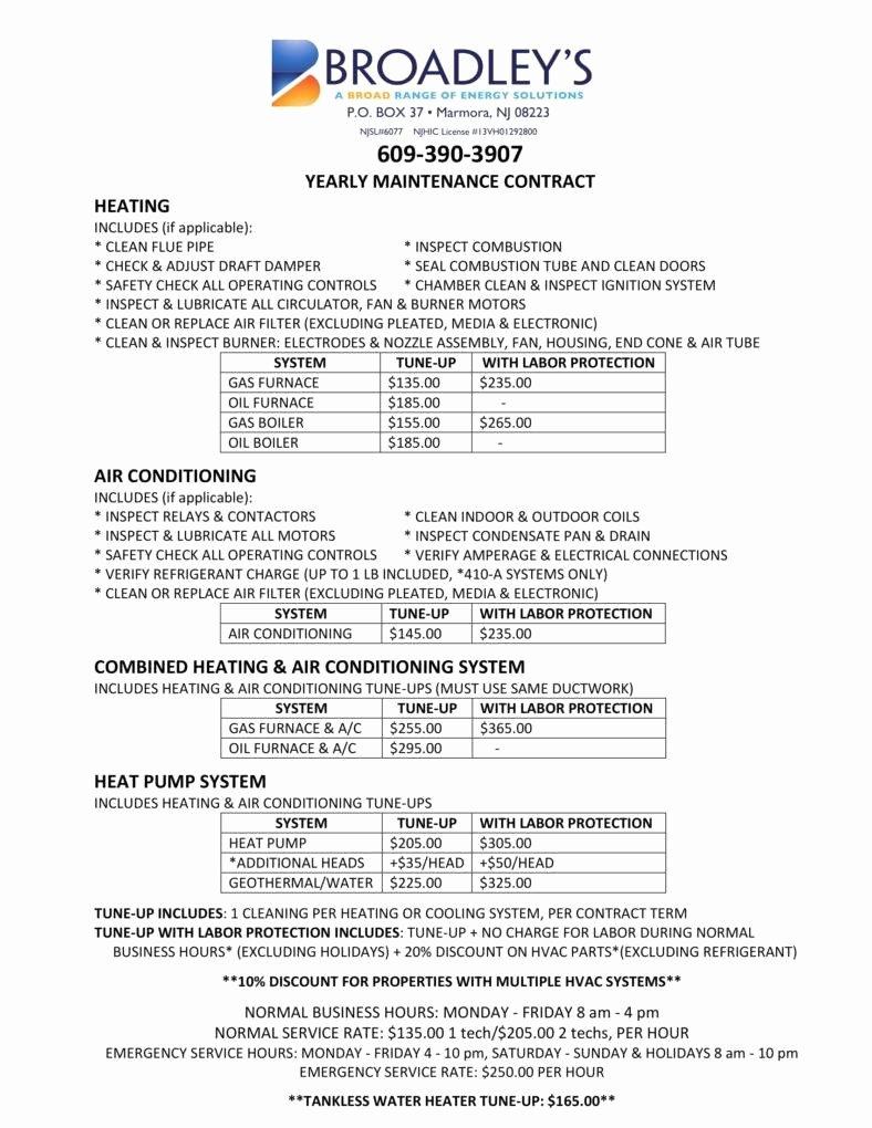 Hvac Service Contract Template Unique 7 Hvac Contract Templates for Services Pdf