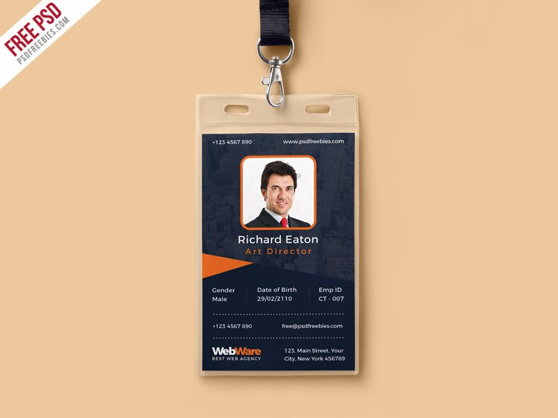 Id Badge Template Photoshop New Free Psd Vertical Pany Identity Card Template Psd by