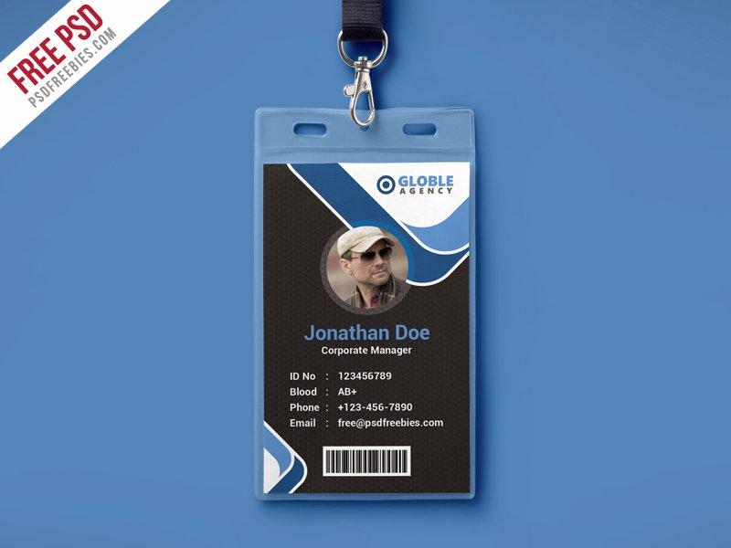 Id Badge Template Photoshop Unique Free Psd Multipurpose Dark Fice Id Card Psd Template