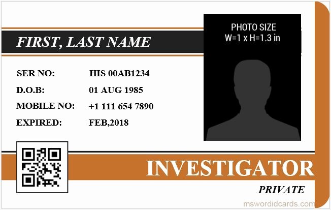 Id Badge Template Word Elegant 5 Best Investigator Id Card Templates Ms Word