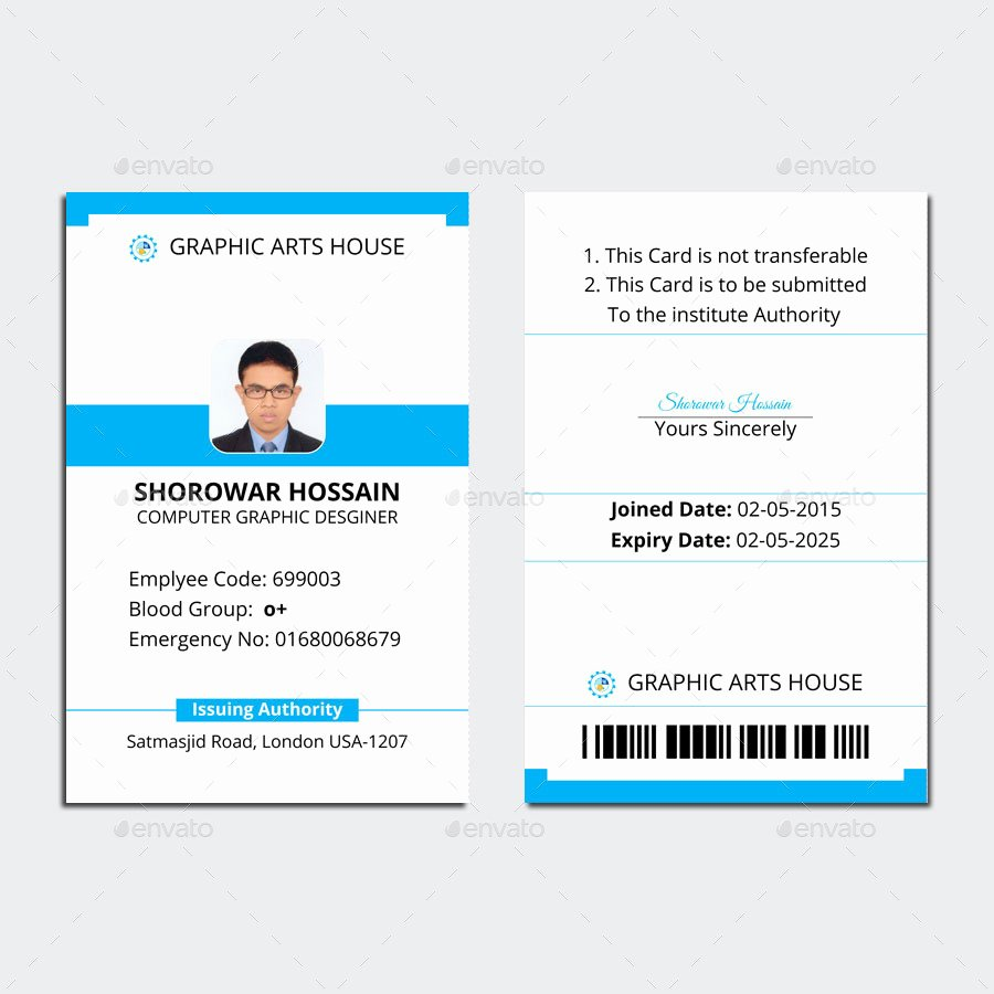 Id Card Size Template Awesome Employee Id Card by thedesignsource