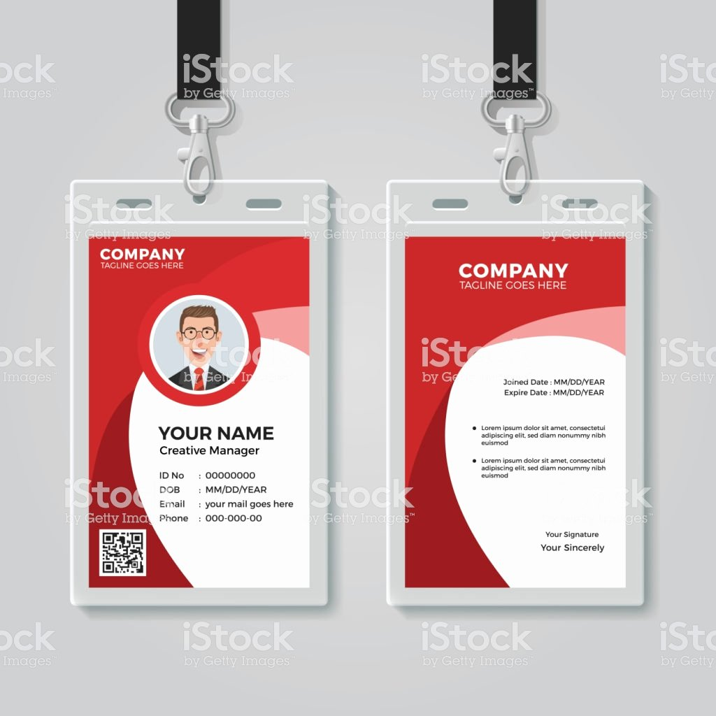 Id Card Size Template Awesome Red Corporate Id Card Template Stock Vector Art & More