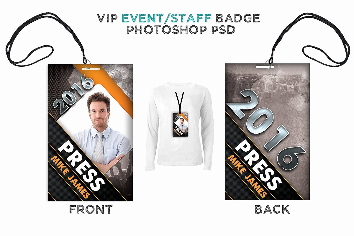 Id Card Size Template Elegant Modern Press Pass Digital316
