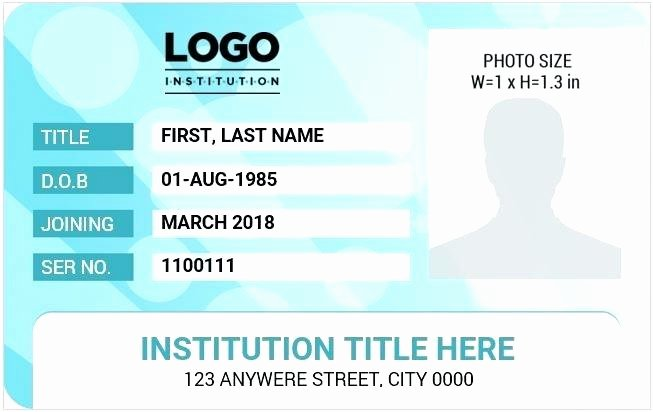Id Card Size Template Fresh Id Card Size Template
