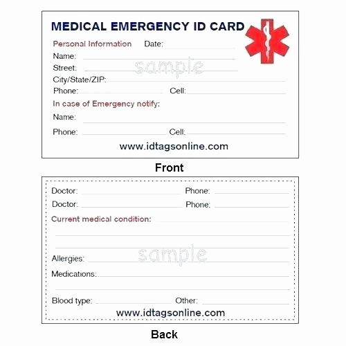 Id Card Size Template Fresh Wallet Id Card Template Medical Emergency for Alert