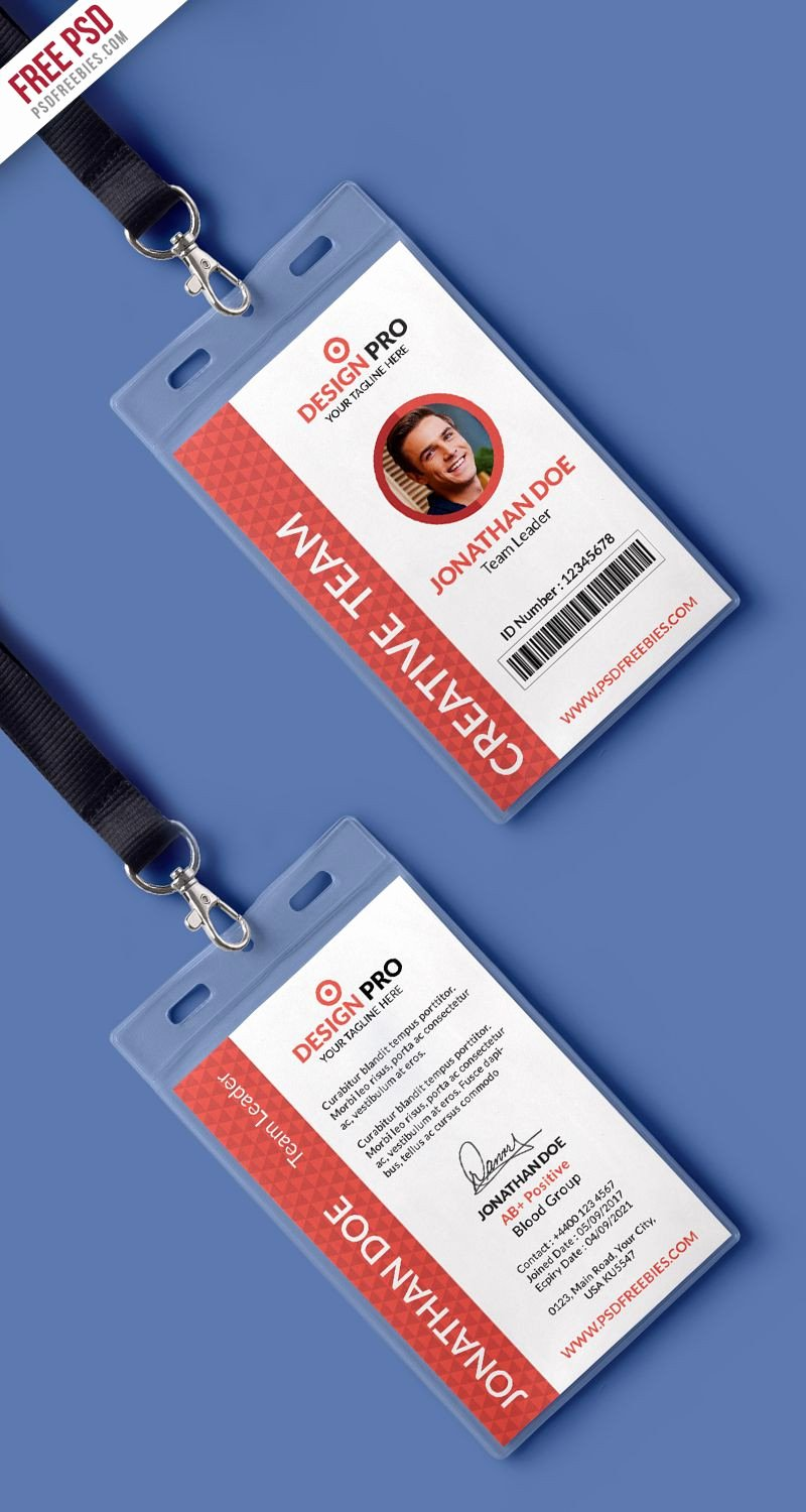 Id Card Template Photoshop Awesome Id Card Design Psd