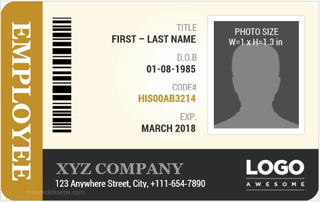 Id Card Template Word Awesome Employee Id Card Templates