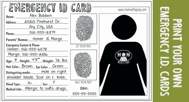 Id Card Template Word Inspirational Emergency Medical Id Card Template – Shootfrank