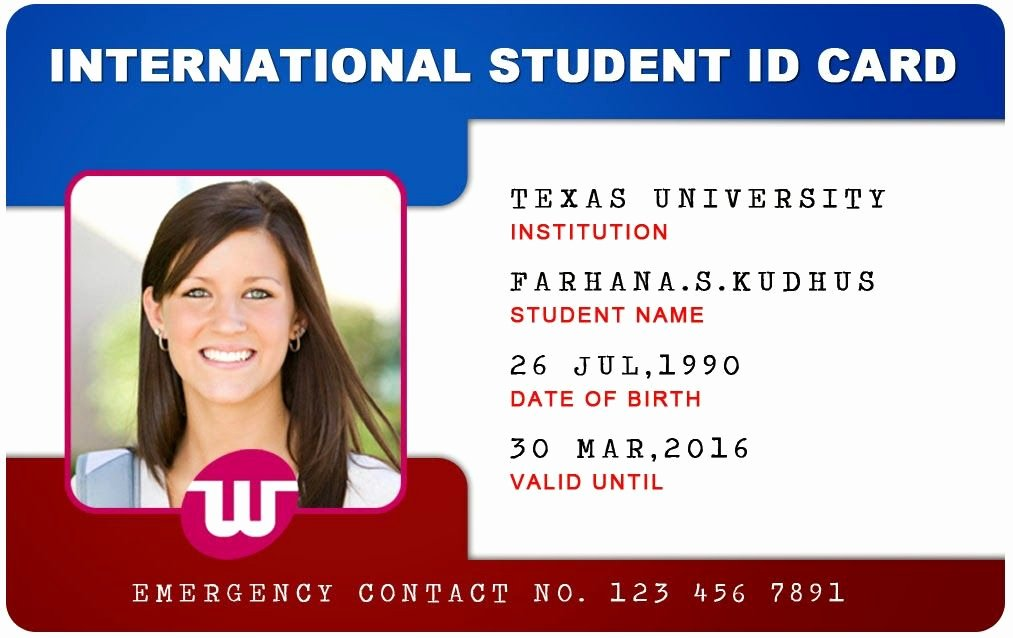 Id Card Template Word Luxury Beautiful Student Id Card Templates Desin and Sample Word