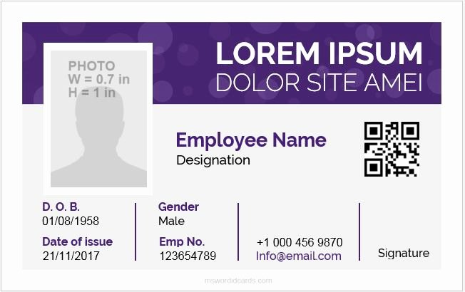 Id Card Template Word New Id Card Template Word 5 Professional Designs