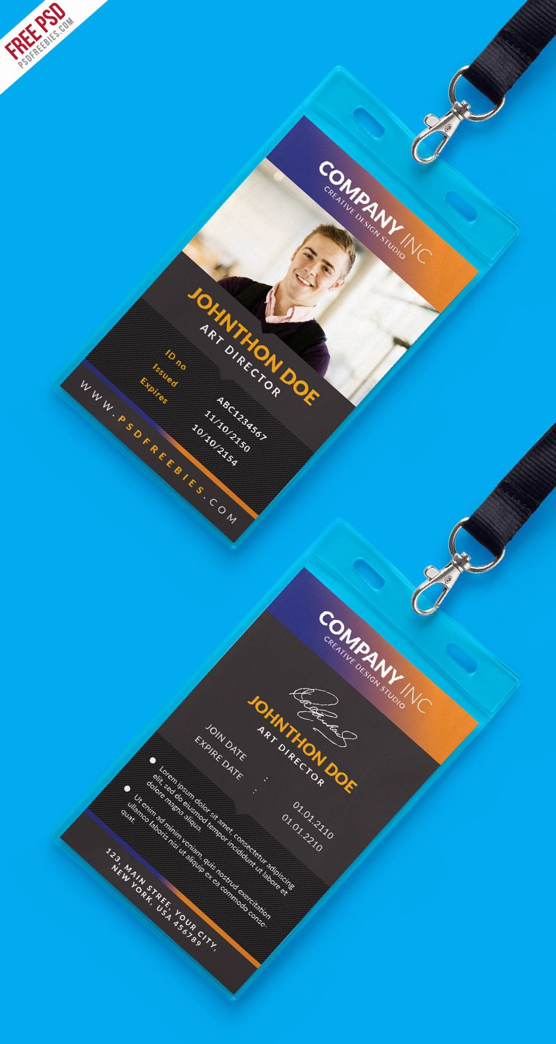 Identity Card Template Psd Awesome Free Creative Identity Card Design Template Psd