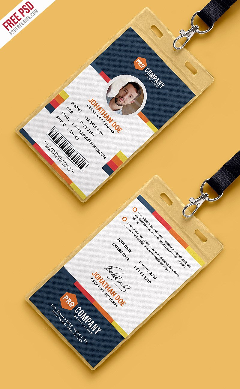 Identity Card Template Psd Beautiful Creative Fice Identity Card Template Psd