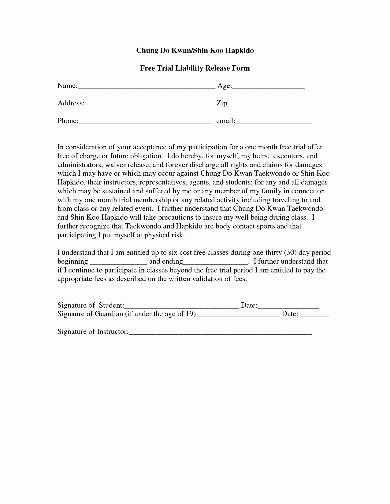 Image Release form Template Awesome Free Liability Release form Template