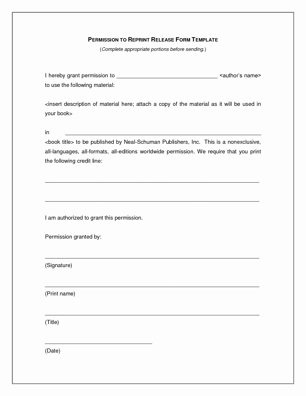 Image Release form Template Awesome Release form Template