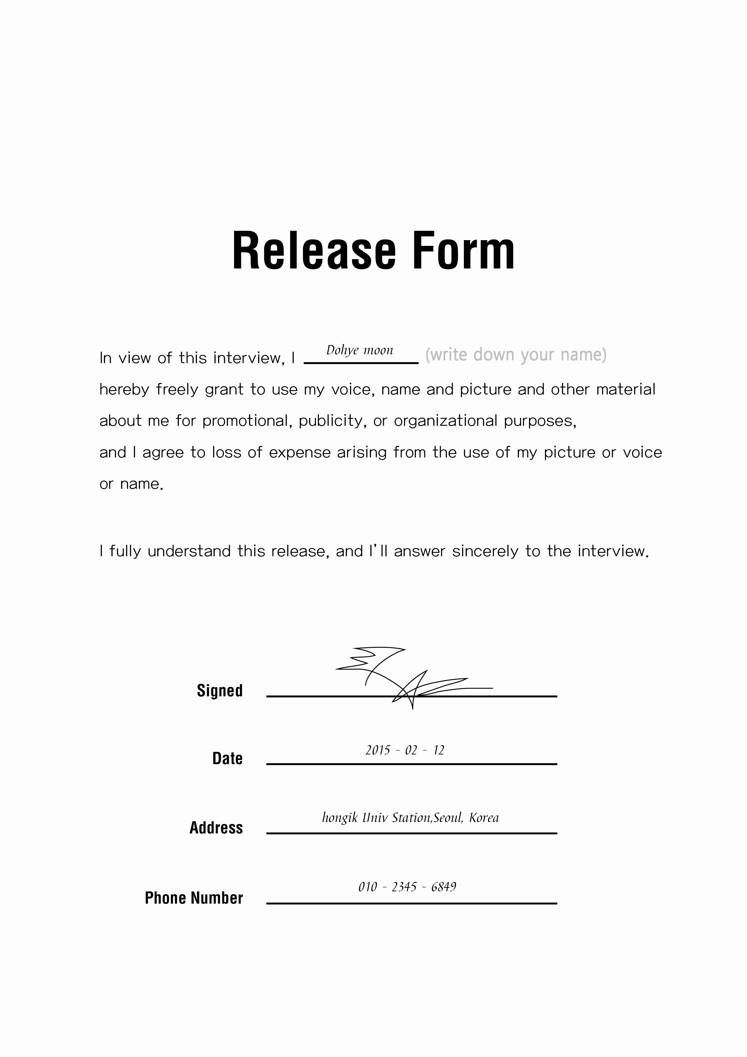 Image Release form Template Elegant Release form