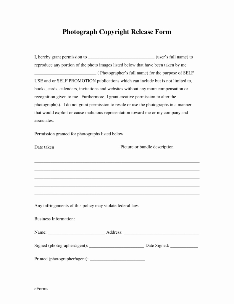 Image Release form Template Fresh Free Generic Copyright Release form Pdf