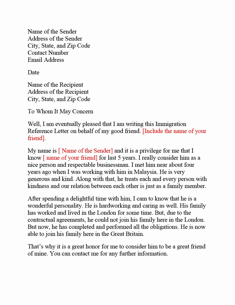 Immigration Recommendation Letter Template Best Of 36 Free Immigration Letters Character Reference Letters