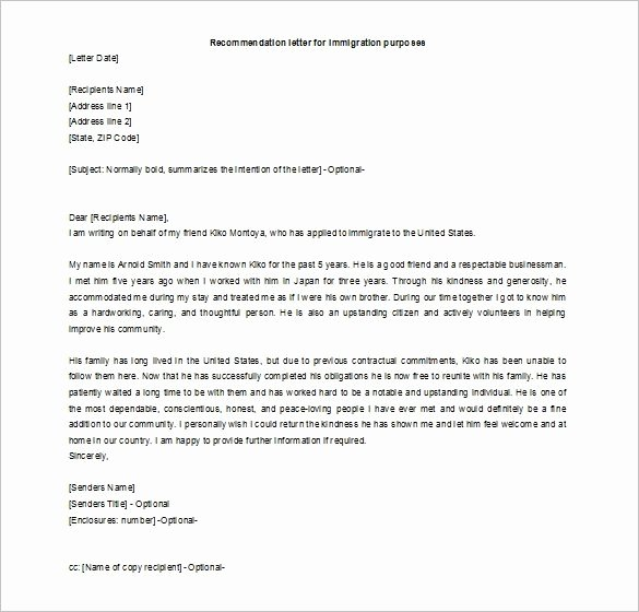 Immigration Recommendation Letter Template New Letter Re Mendation Immigration Letter Of