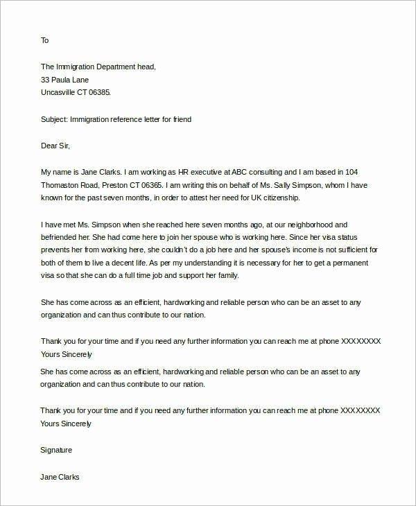 Immigration Recommendation Letter Template Unique Immigration Letter for A Friend