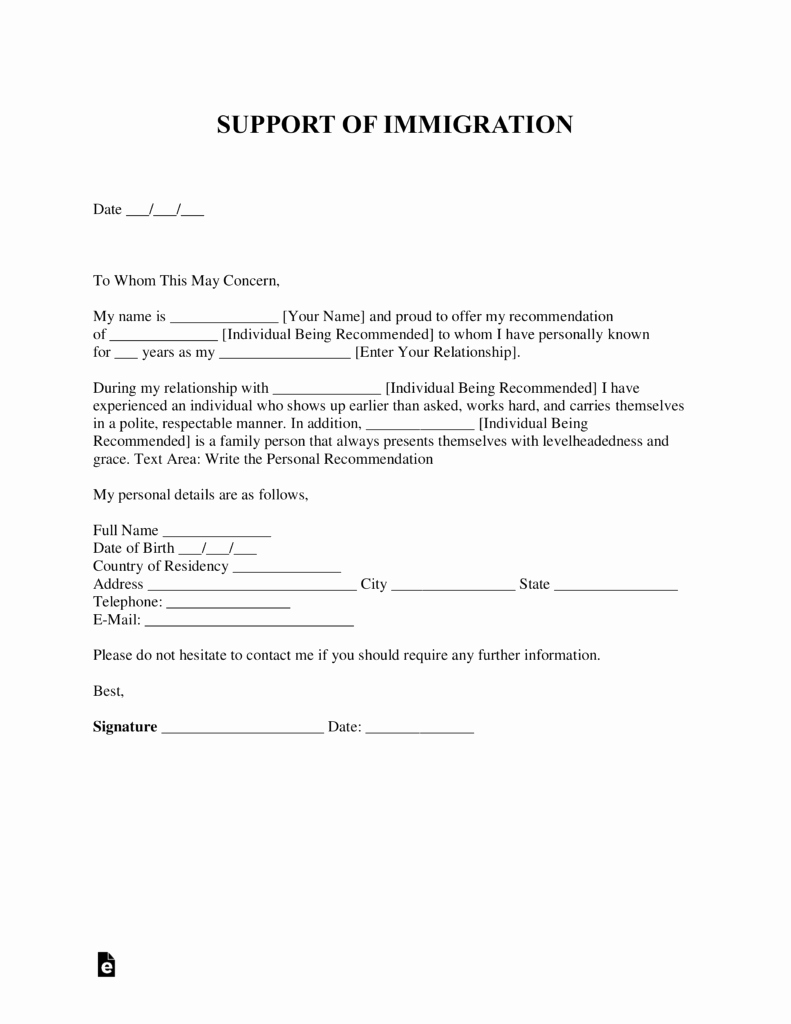 Immigration Reference Letter Template Fresh Free Character Reference Letter for Immigration Template
