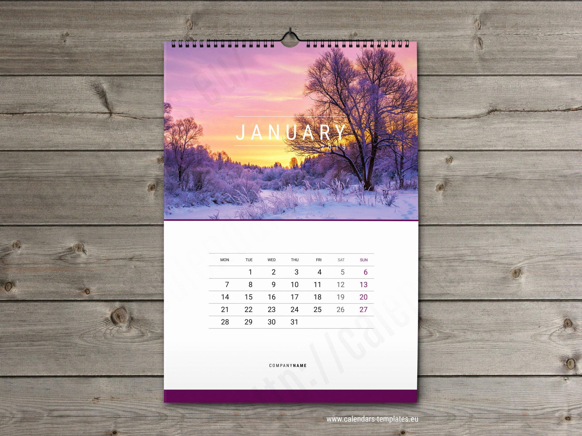 In Design Calendar Template Beautiful Wall Calendar Template 2019 Yearly & Monthly Wall Calendar