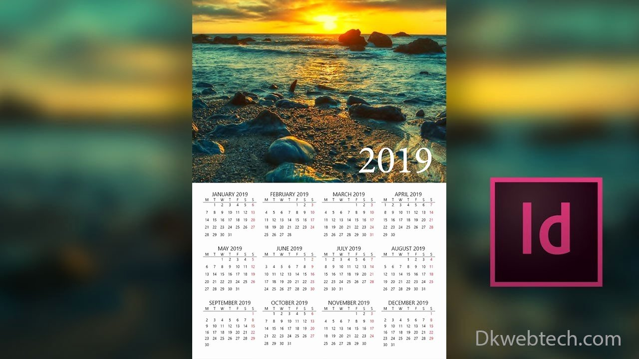 In Design Calendar Template Elegant New Year 2019 Calendar Design In Adobe Indesign In Hindi