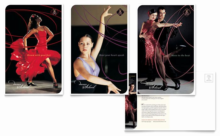 In Design Postcard Template Lovely Dance School Postcard Template Design