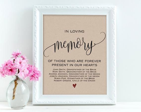 In Loving Memory Template Awesome In Loving Memory Wedding Signs Personalized Sign Memory