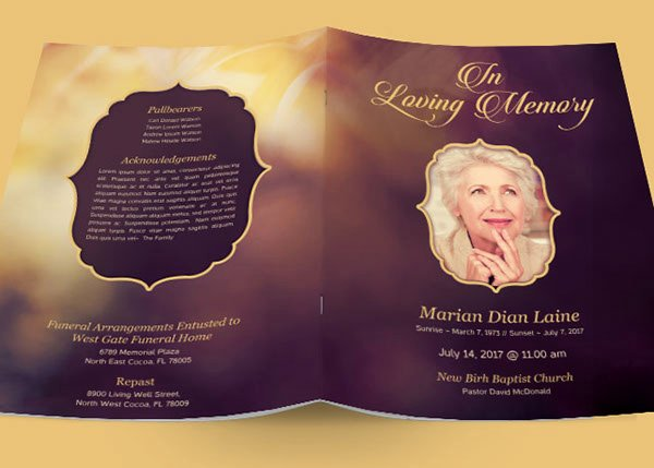 In Loving Memory Template Inspirational In Loving Memory Funeral Program Template On Behance