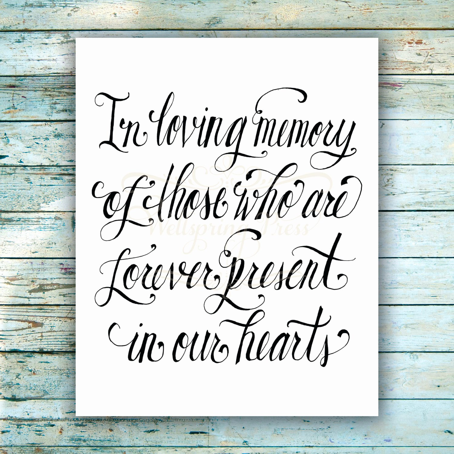 In Loving Memory Template Inspirational In Loving Memory Wedding Sign Diy Printable 8x10 Sign Pdf