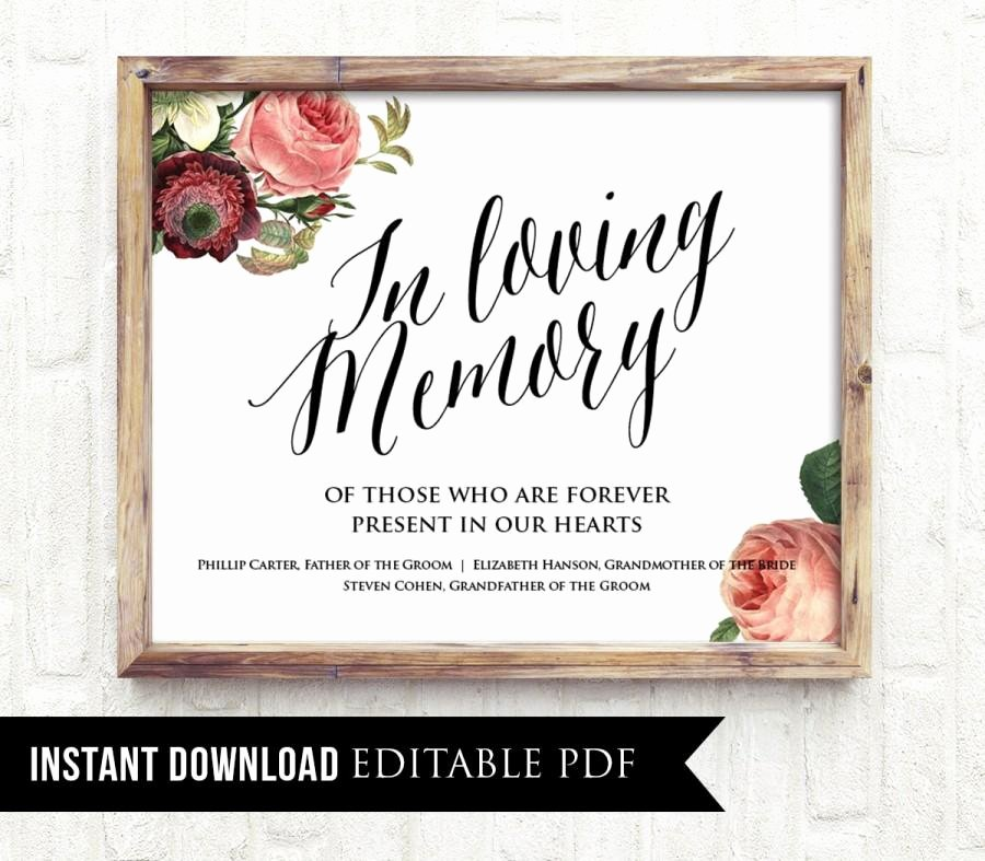 In Loving Memory Template Lovely Editable Wedding Sign In Loving Memory Pdf Template
