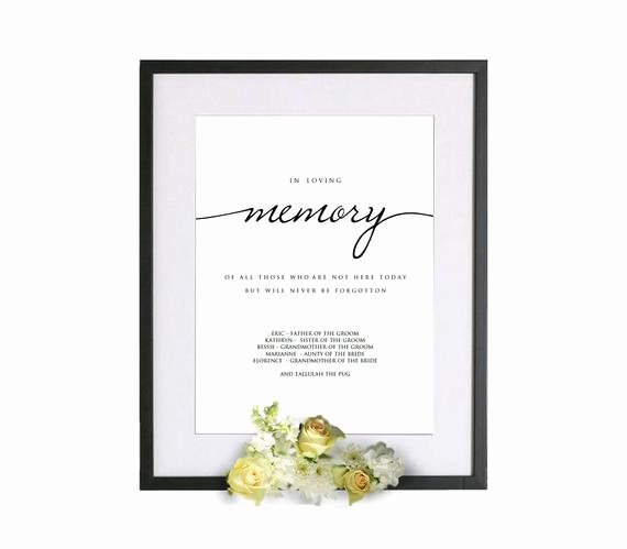 In Loving Memory Template Luxury Printable In Loving Memory Wedding Template In Loving Memory
