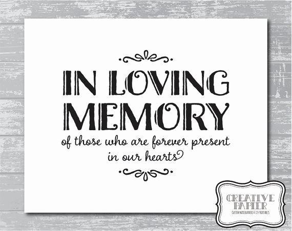 "In Loving Memory Template New Instant Download In Loving Memory Sign 5x7 or 8x10"" Diy"