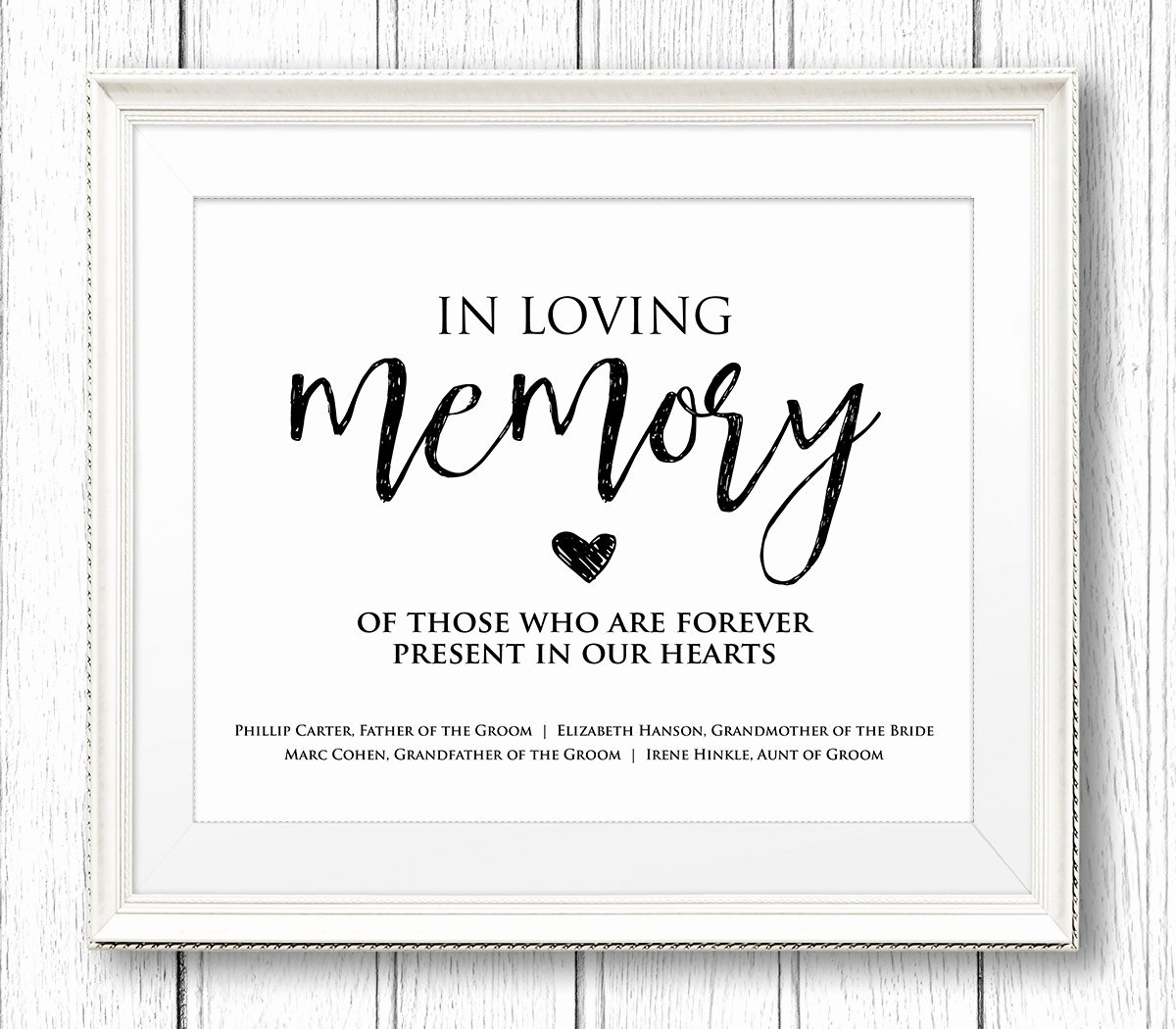 In Loving Memory Template Unique In Loving Memory Wedding Sign Editable Text Personalize