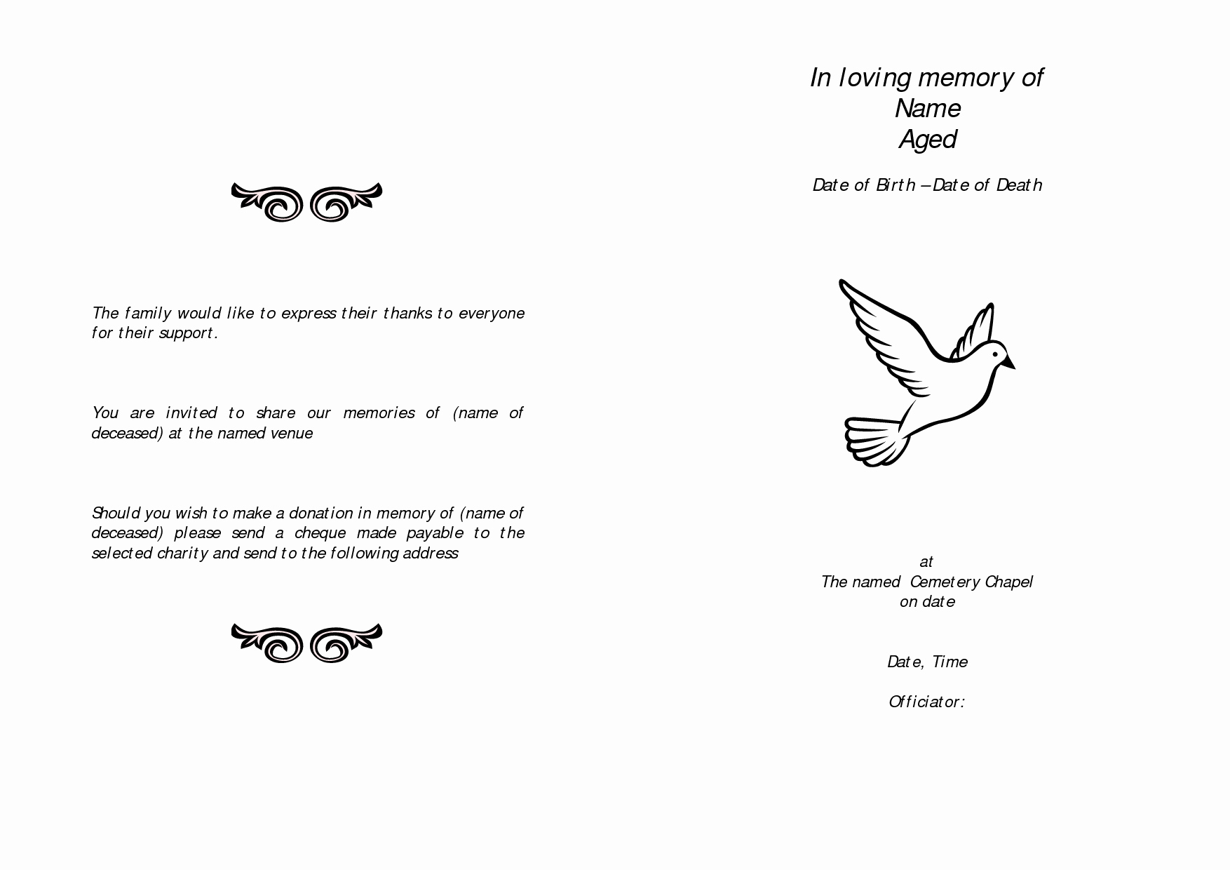 In Memory Of Template Awesome Memorial Service Programs Sample