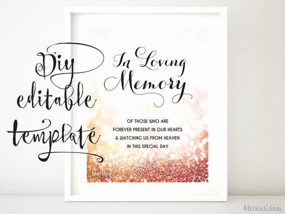 In Memory Of Template Best Of Printable Memorial Sign Template Diy Wedding Memorial Sign