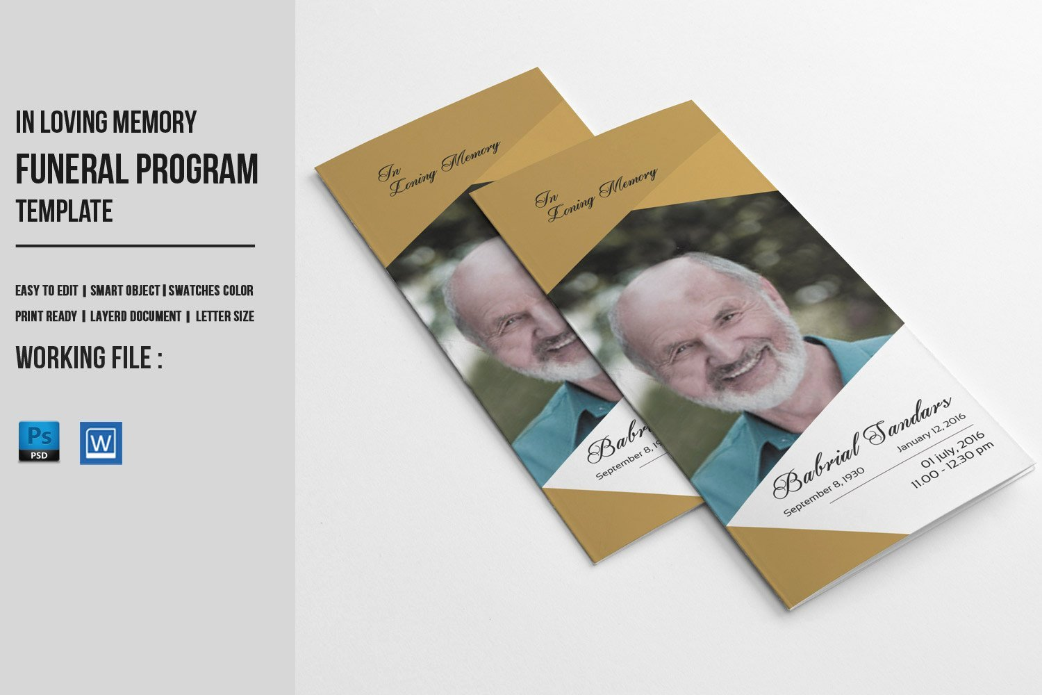 In Memory Of Template Lovely Trifold Funeral Program Template Memorial Obituary Service