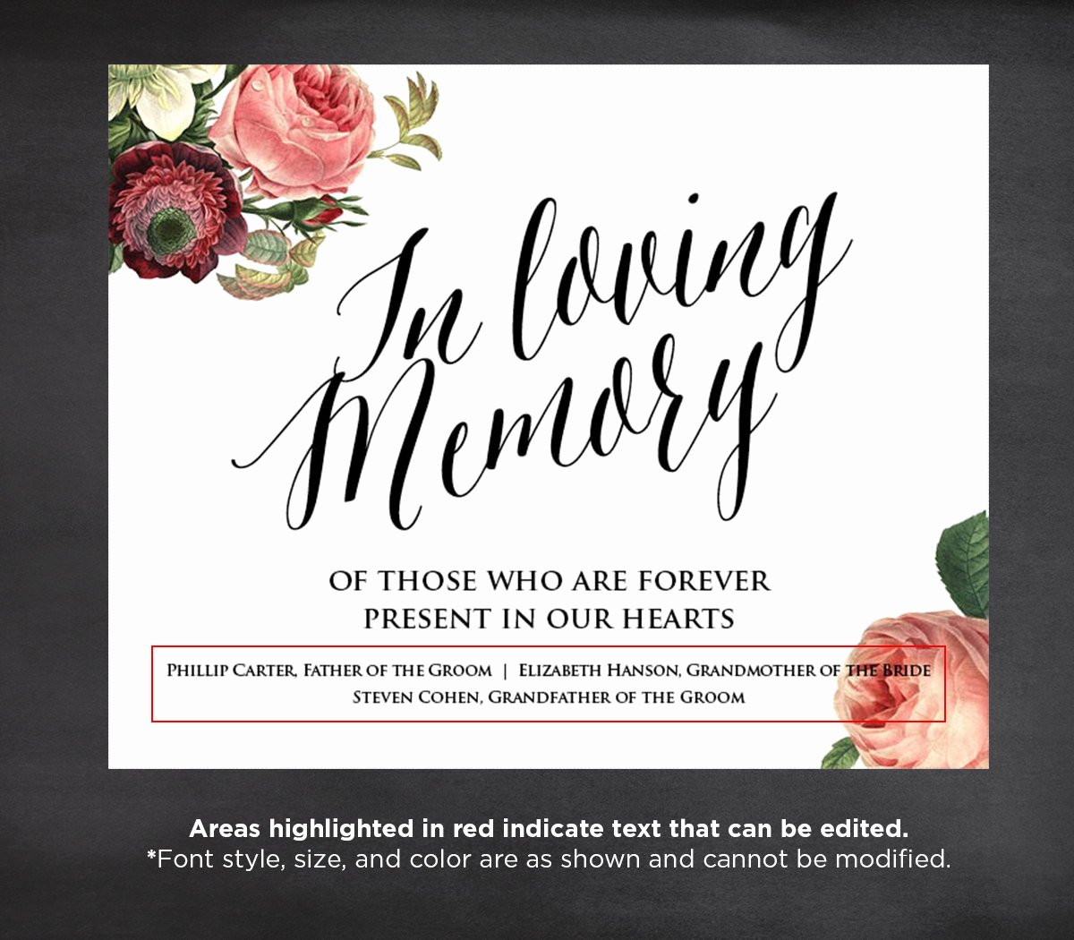 In Memory Of Template Luxury F In Loving Memory Wedding Sign Template Editable