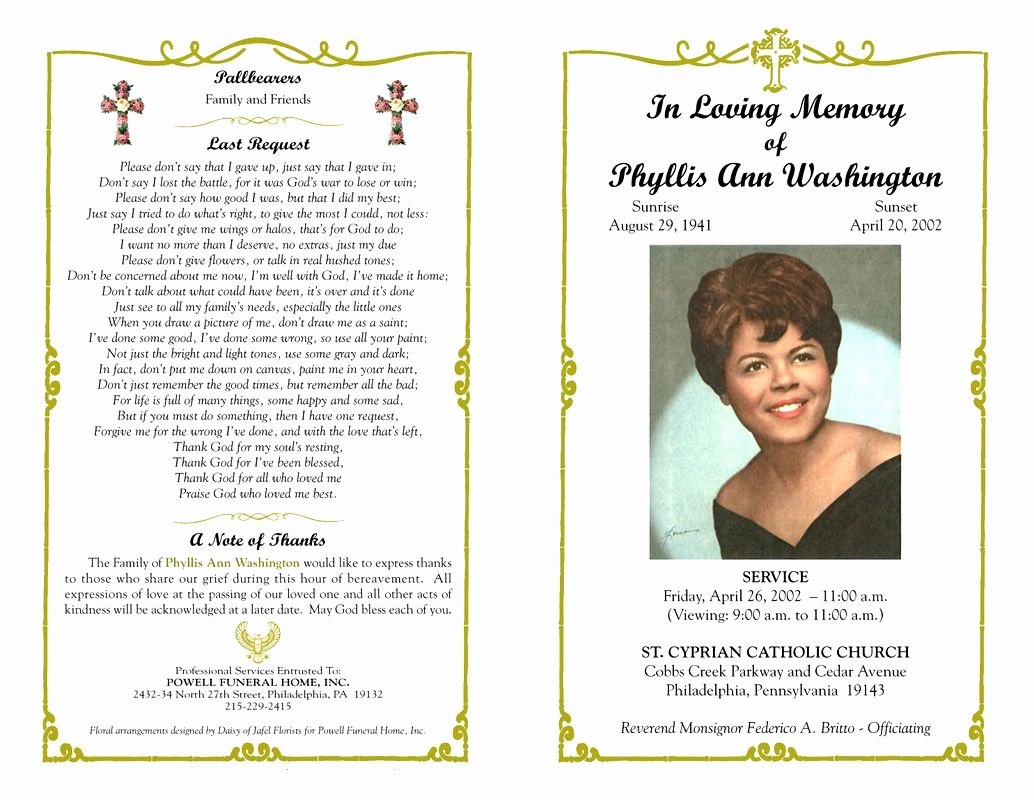 In Memory Of Template Luxury Funeral Program Template Sample Free Loving Memory