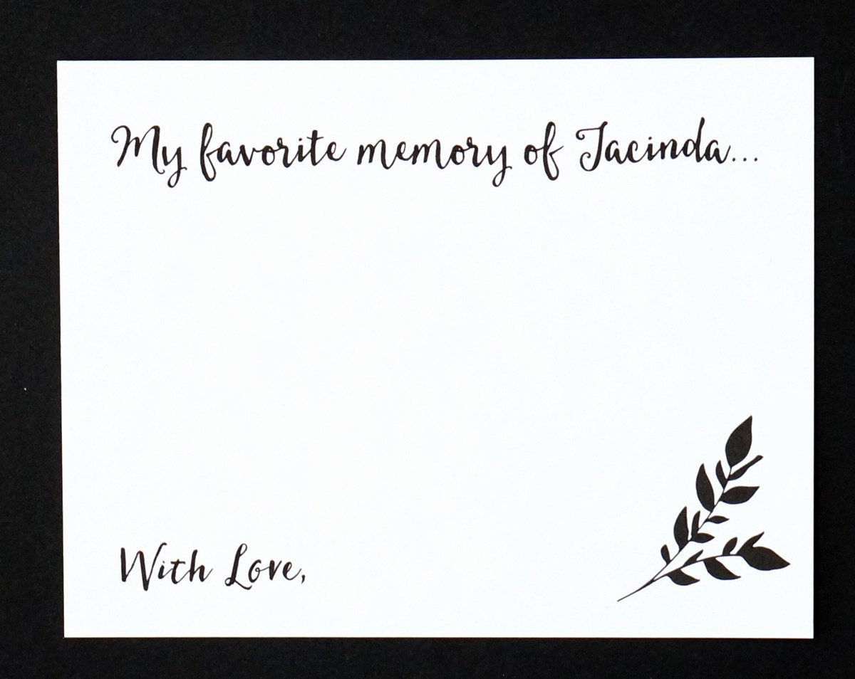 In Memory Of Template Unique Celebration Of Life My Favorite Memory Of Card