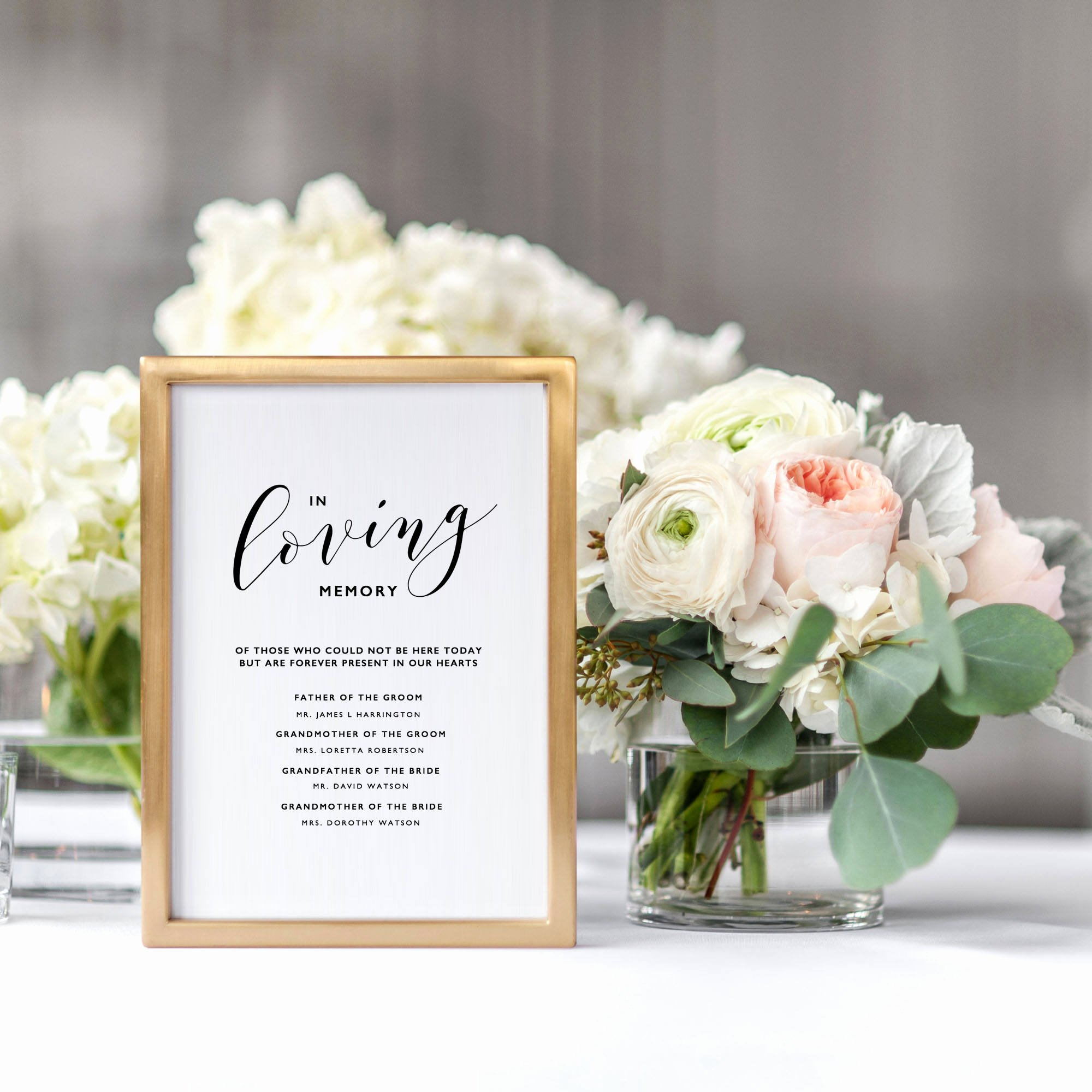 In Memory Of Template Unique In Loving Memory Sign Template Memorial Table Sign Wedding