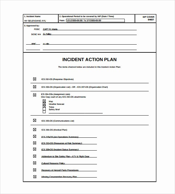 Incident Action Plan Template Awesome 8 Incident Action Plan Templates